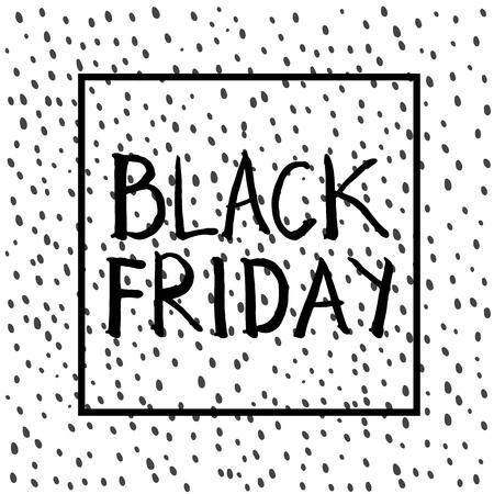 正方形のフレームの黒の金曜日の文字。手描き下ろしグラフィック。