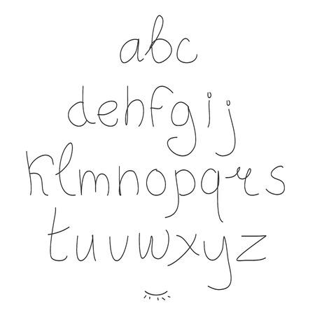 かわいい手描き文字。落書き型。サンセリフ体。面を表示します。大文字し、小文字します。