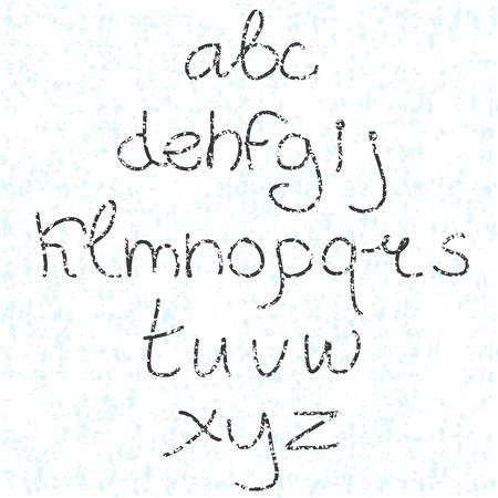 かわいい手描き文字。落書き型。スリムします。サンセリフ体。面を表示します。大文字し、小文字します。テクスチャ。  イラスト・ベクター素材