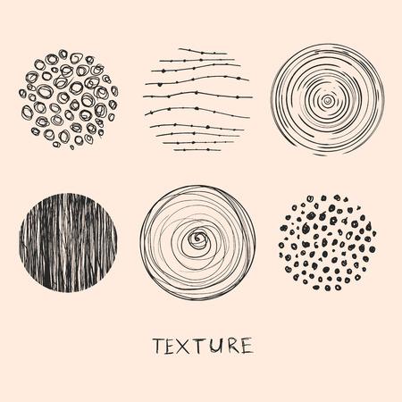 手には、テクスチャやブラシが描画されます。デザイン要素の芸術コレクション: ブラシ ストローク、塗料指紋、波線、抽象的な背景、ハッチング   イラスト・ベクター素材