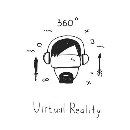 仮想現実のヘッドセット。ゲーム サイバー技術。VR 技術メガネ手描きスタイルのアイコン