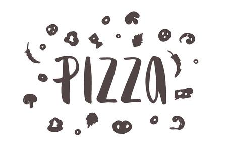 ピザのレタリングは手ピザの描かれているエレメントです。インクの図。モダンなブラシ書道。白い背景上に分離。