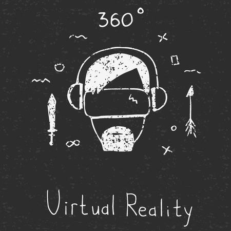 ゲーム サイバー技術。VR 技術メガネ手描画スタイルのアイコンです。テクスチャ。  イラスト・ベクター素材