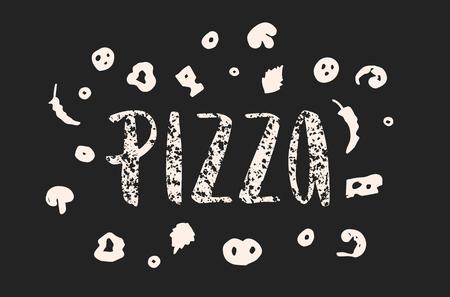 ピザのレタリングは手ピザの描かれているエレメントです。インクの図。モダンなブラシ書道。白い背景上に分離。テクスチャ