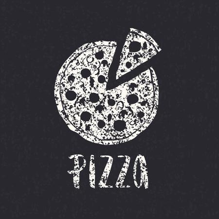 ピザ レタリングと手描き下ろしピザ円。インクの図。モダンなブラシ書道。白い背景上に分離。テクスチャです。