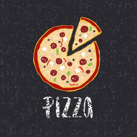 ピザ レタリングと手描き下ろしピザ円。インクの図。モダンなブラシ書道。白い背景上に分離。色。テクスチャです。  イラスト・ベクター素材
