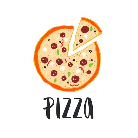 ピザ レタリングと手描き下ろしピザ円。インクの図。モダンなブラシ書道。白い背景上に分離。色。