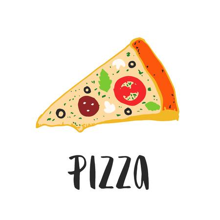 ピザのレタリング手ピザのスライスを描画します。インクの図。モダンなブラシ書道。色。  イラスト・ベクター素材