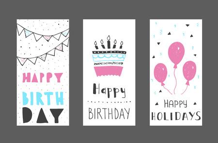 誕生日の挨拶カード デザインのセットです。インクの手描きのグラフィック。色  イラスト・ベクター素材