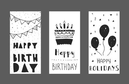 誕生日の挨拶カード デザインのセットです。インクの手描きのグラフィック。