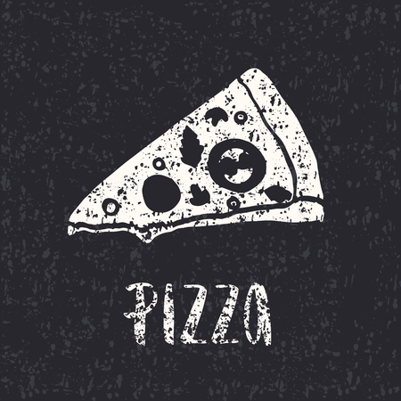 ピザのレタリング手ピザのスライスを描画します。インクの図。モダンなブラシ書道。テクスチャです。