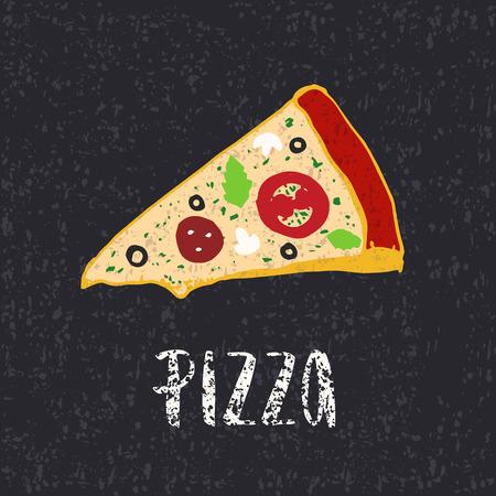 ピザのレタリング手ピザのスライスを描画します。インクの図。モダンなブラシ書道。色。テクスチャです。