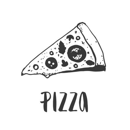 ピザのレタリング手ピザのスライスを描画します。インクの図。モダンなブラシ書道。白い背景上に分離。