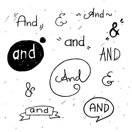 手文字落書きデザイン要素を持つアンパサンド