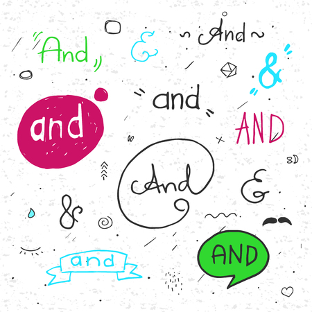 hand lettered: Hand lettered ampersands with doodle design elements. Color. With texture