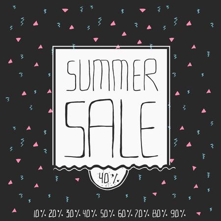 レタリングとデザイン要素と落書きスタイルで夏販売バナー。