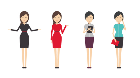advertising woman: Beautiful women in different style clothes vector icons on white background. Women dress code illustration