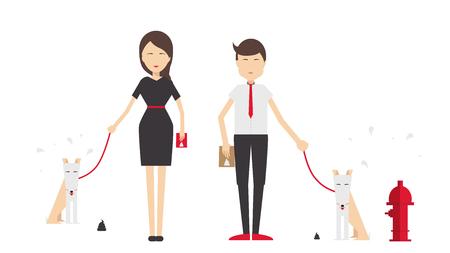 若い男と女が犬を散歩し、彼女のフラット スタイルをクリーンアップします。デザイン要素です。