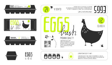 レタリングと卵包装用のテンプレートのラベルのセットです。