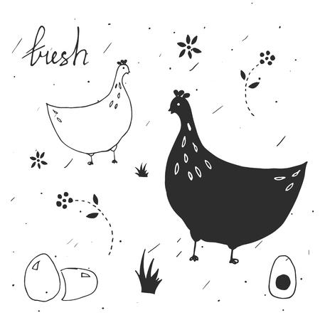 卵の包装のデザイン要素をセットします。鶏。手描きスタイル。