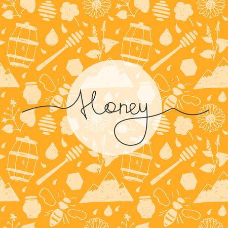 シームレスなパターンは蜂蜜レタリングと手に描画スタイルです。  イラスト・ベクター素材