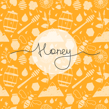 alfalfa: Seamless pattern honey in hand drawn style with lettering.