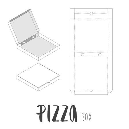 株式ベクトル ピザのボックス。ラップされていないと 3 d 画像。文字  イラスト・ベクター素材