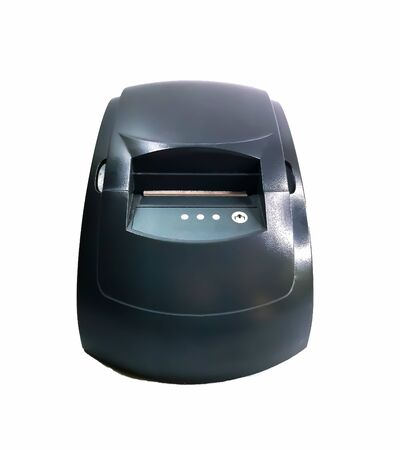 Cash register for printing checks isolated on a white background. A printer for printing cash receipts from a terminal or a computer. Inexpensive cash register for small businesses. Front view.Cash register for printing checks isolated on a white background. A printer for printing cash receipts from a terminal or a computer. Inexpensive cash register for small businesses. Front view.