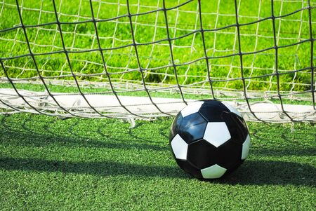 Closeup of a soccer ball in the goal net on a green lawn. Sports group games on a professional and amateur level. Summer outdoor sports.