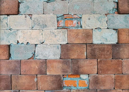 Old brown brick wall with partially destroyed facing. Retro vintage worn wall background. Rough abstract wall surface. Pattern for designers. 免版税图像