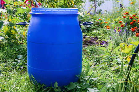 Large blue plastic garden barrel with handles outdoors in the garden. Rainwater tank in the garden on a sunny summer day. Objects in the garden.