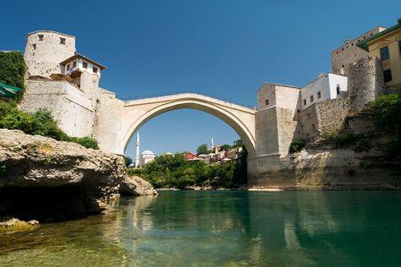 mostar: the old bridge in Mostar and river Neretva Stock Photo