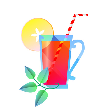 a sprig: A glass of juice, a sprig of mint, apple and straw. Vector illustration.