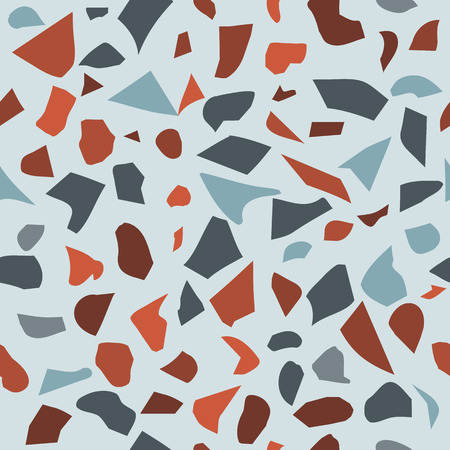 Terrazzo vector seamless pattern in coloful colors. Can be printed on postcards, textile, wrapping paper, stationery, apparel, umbrellas, purse and bag