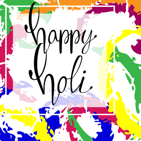 Happy holi colorful vector abstract background. Can be used on postcards, textile, wrapping paper,  apparel, bag Illustration