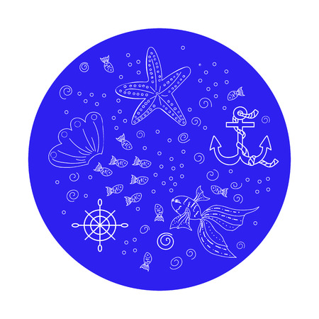 Vector illustrations of undersea fauna arranged in a circle. Doodle style illustration isolated on background. Can be used on postcards, textile, wrapping paper, apparel, bag