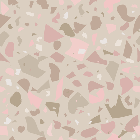 Terrazzo vector seamless pattern in pastel nude colors. Can be printed on postcards, textile, wrapping paper, stationery, apparel, umbrellas, purse and bag