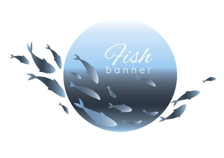 Blue fish design template for fish merchant or seafood restaurant.