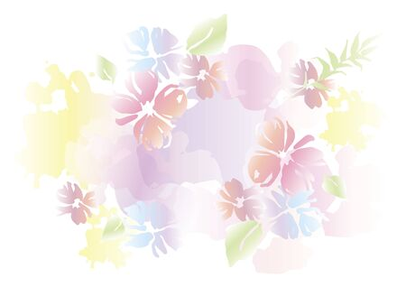 Floral summer abstract background in watercolor style. Vector colorful illustration