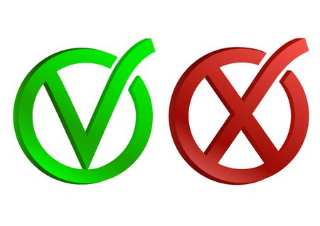 Green and red circle icons yes and no. Vector illustration.