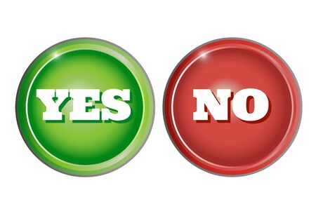 Green and red buttons with inscription yes and no. Vector illustration.