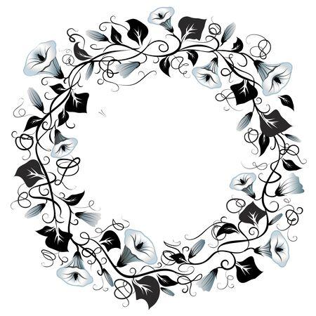 Decorative wreath of bells flowers with empty place for an inscription. Vector illustration. Ilustração