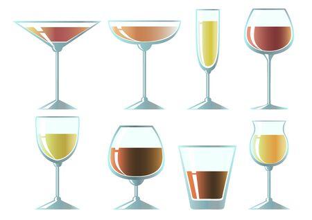 Set of glasses for different drinks. Design elements. Vector illustration.