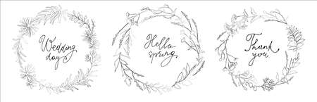 Set of linear contour herbs wreath with lettering inscriptions. Wedding day. Hello spring. Thank you. Vector illustration.