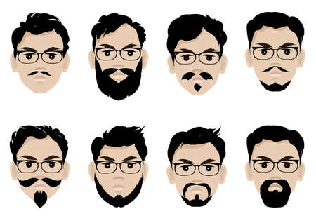 Set of men s faces with glasses, beard and hairstyles.