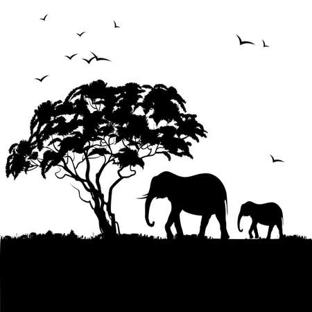 Black silhouette of african trees and elephants. Background with african landscape.