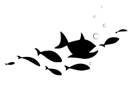 Black school of fish with bubbles water. Vektoros illusztráció