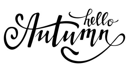 Hello autumn black lettering. Design element. Vector illustration.