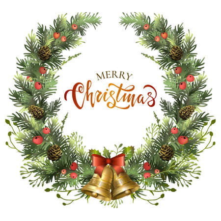 Christmas festive wreath with jingle bells, fir branches, holly berries and lettering inscription. Vector illustration.
