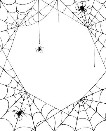 Halloween background with cobweb and spiders. Halloween card. Vector illustration. Illusztráció